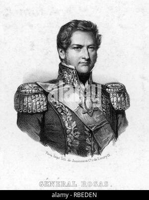 JUAN MANUEL de Rosas (1793-1877), Gouverneur von Buenos Aires, Argentinien Stockbild