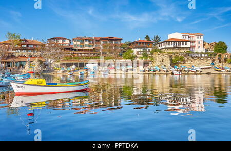 Angeln boote Liegeplatz, Nessebar, Bulgarien Stockbild