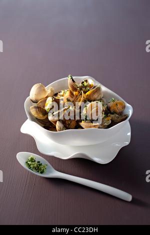 Herzmuscheln mit Parmesan Stockbild