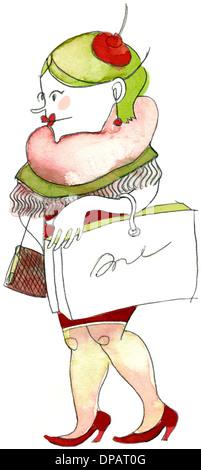 Ein Aquarell von einer Frau mit einer Shopping-Tasche Stockbild