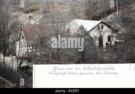 Mühlen in Meißen, 1898, Meißen, Schiebocksmühle, Deutschland Stockbild