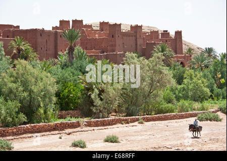 Ksar Aït Benhaddou; UNESCO-Weltkulturerbe, Provinz Ouarzazate, Marokko Stockbild