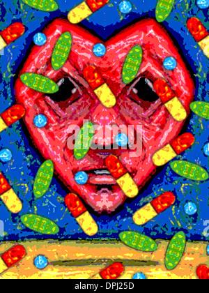 Ein Herz mit einem menschlichen Gesicht und Pillen fallen Stockbild