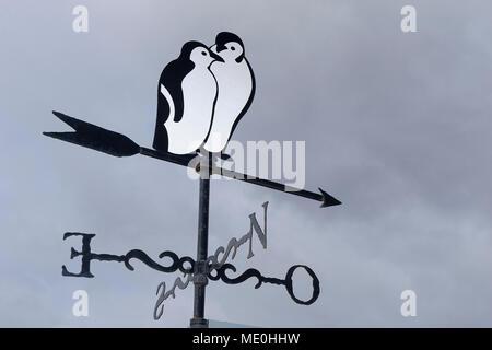 Nahaufnahme einer Wetterfahne, die Pinguine in Ushuaia in Feuerland, Argentinien Stockbild