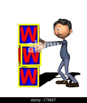 Cartoon-Figur-Geschäftsmann mit WWW Stockbild