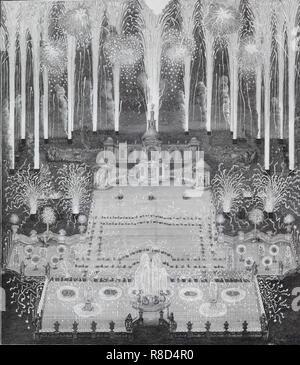 Feuerwerk anlässlich des Abschlusses des Friedens zwischen Russland und Schweden am 16. Juli 1744 in Moskau vor dem imperi, 1744. In der Sammlung des Staatlichen Museums für A.S. Puschkin, Moskau gefunden. Stockbild