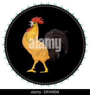 Ein Hahn auf einem schwarzen Hintergrund Stockbild