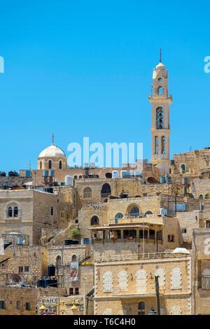 Palästina, West Bank, Bethlehem. Blick auf die Gebäude in der Altstadt. Stockbild