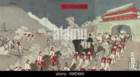 Japanische Armee treibt Koreanische Soldaten aus dem Kings Palace in Seoul, Korea, Anfang Juni 1894. Japanische Stockbild