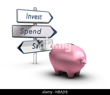 3D Abbildung einer Piggy Bank Blick auf Verkehrszeichen mit den Worten investieren, ausgeben oder sparen, Finanzkonzept Stockbild