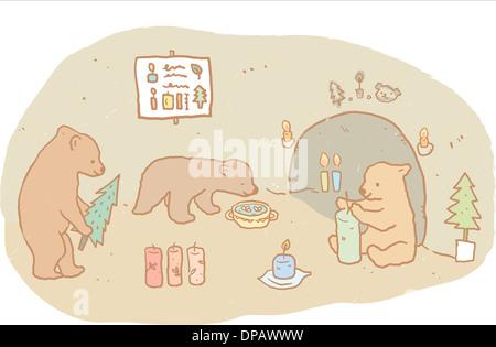 Drei Bären innerhalb eines Hauses vor weißem Hintergrund Stockbild