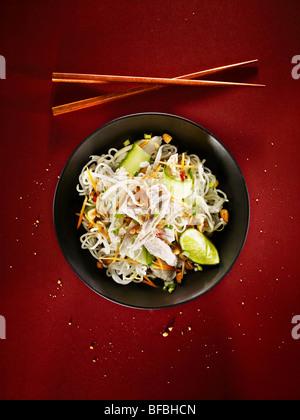 Würziges Huhn Nudeln, eine asiatische Speise Stockbild