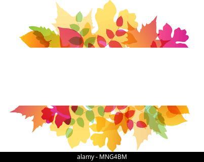 Hell abstrakt Herbst Hintergrund mit der Eiche und Ahorn Blätter Stockbild