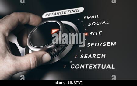 Hand drehen eine Schaltfläche mit dem Titel retargeting und 6 Optionen, schwarzen Hintergrund. Online Werbung Stockbild