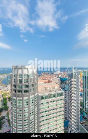 Stadtbild Luftbild der Innenstadt von Bürogebäuden in der Nähe von Tanjong Pagar Port, Singapur Stockbild