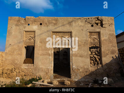 Farasani Haus mit Gips Dekoration und Fresken, Rotes Meer, Farasan, Saudi-Arabien Stockbild