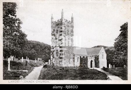 St Wynwallow's Kirche, Landewednack, Cornwall. Stockbild