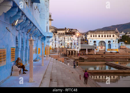 Baden Ghats, Pushkar, Rajasthan, Indien, Asien Stockbild