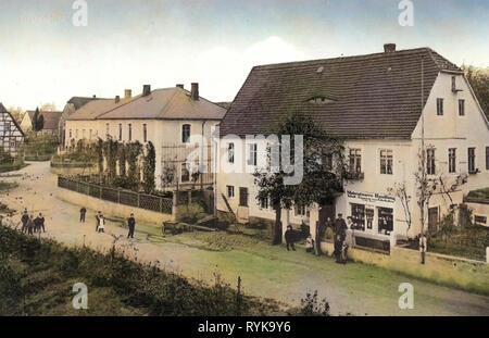 Raußlitz, Geschäfte in Sachsen, 1912, Landkreis Meißen, Ortsansicht, Deutschland Stockbild