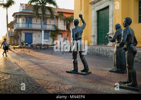 Plaza de la: Iglesia de Santisima Trinidad, Cartagena, Kolumbien Stockbild