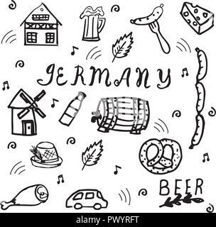 Hand gezeichnet Doodle style Set Deutschland Elemente. Stockbild