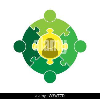 Logo Teamarbeit. Kreis in Form eines Puzzles aus fünf Teilen. Flache Bauform Stockbild