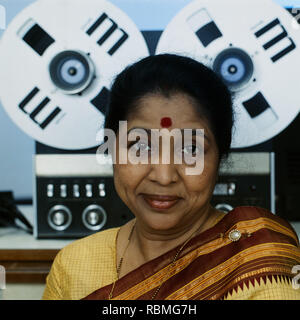 Portrait von Asha Bhosle, Indien, Asien Stockbild