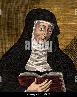 Hildegard von Bingen (1098 - 17. September 1179) war ein deutscher Benediktiner Äbtissin, Autor, Komponist, Philosoph, christliche Mystiker, visionär, und Universalgelehrten. Sie ist der Gründer der wissenschaftlichen Natural History in Deutschland. Eines ihrer Werke als Komponist, der Ordo virtutum, ist ein frühes Beispiel der liturgischen Drama und wohl das älteste erhaltene Moral spielen. Stockbild