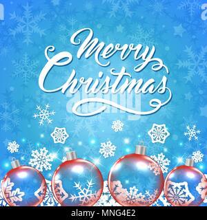 Vektor Weihnachtskarte mit roten Kugeln und Gruß Inschrift auf einem blauen Hintergrund. Frohe Weihnachten Schriftzug Stockbild