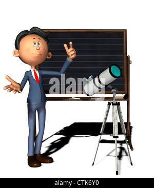 Cartoon-Figur Physiklehrer mit Teleskop Stockbild