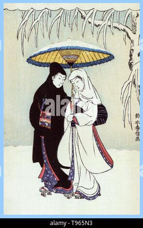 Secchu aiaigasa. Paar unter dem Dach im Schnee (Crow und Reiher). Ein Mann und eine Frau, die in den Schnee unter einem schneebedeckten Dach. Ukiyo-e (Bilder der fließenden Welt) ist ein Genre der japanischen Kunst, die vom 17. bis 19. Jahrhundert blühte. Ukiyo-e war zentral für die Wahrnehmung des Westens für Japanische Kunst im späten 19. Jahrhundert. Stockbild