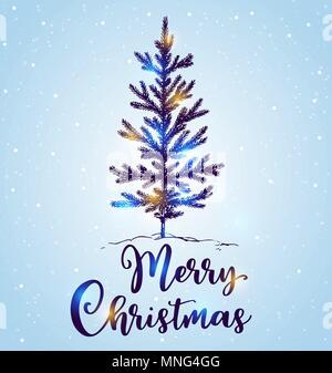 Hand Weihnachtsbaum im Schnee auf einem blauen Hintergrund dargestellt. Frohe Weihnachten Schriftzug. Design für die Grußkarte. Stockbild