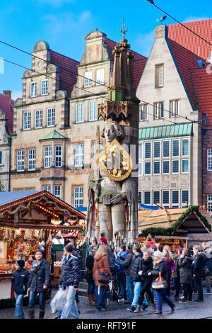 Der Bremer Roland, Weihnachtsmärkte, Bremen, Deutschland, Europa Stockbild