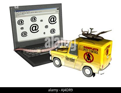 Gefahr der Infektion durch einen Computervirus im internet Stockbild