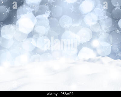Weihnachten Hintergrund mit Bokeh Lichter und Schnee Stockbild