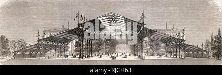 Für einen nicht realisierten Entwurf für die Crystal Palace, die Königliche Kommission präsentiert der französische Architekt Hector Horeau, in der Französischen Veröffentlichung L'Illustration wiedergegeben. Stockbild