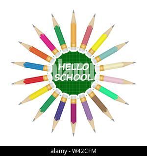 Satz farbiger Bleistifte in einem Kreis. In der Mitte auf einem grünen Hintergrund, Beschriftung Hallo Schule. Stockbild