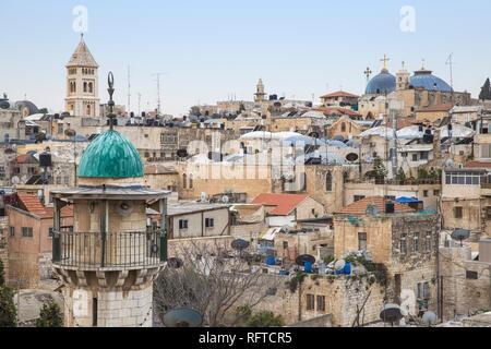 Blick auf das Muslimische Viertel, Altstadt, UNESCO-Weltkulturerbe, Jerusalem, Israel, Naher Osten Stockbild