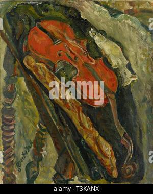 Nature morte au Violon, Schmerzen et Poisson (Stillleben mit Violine, Brot und Fisch), C. 1922. In der Sammlung des Kunstmuseums Basel gefunden. Stockbild