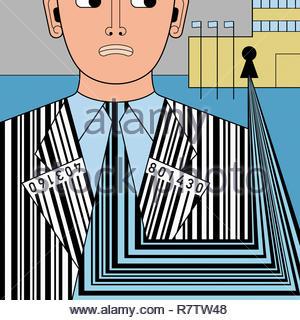 Gebäude sammeln Barcode Daten aus ängstlichen Mann Stockbild