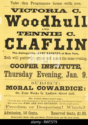 VICTORIA WOODHULL (1838-1927), US-amerikanische Frauen, aktive und passive Wahlrecht. Treffen mit ihrer Schwester Tennie Clafin. Stockbild
