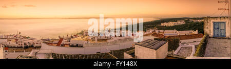 Vejer De La Frontera, Pueblo Blanco Dorf, Sunrise, Panorama, Spanien Stockbild