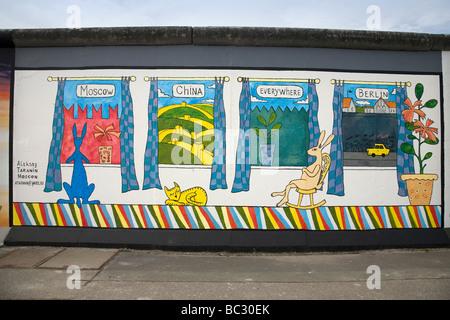 Berlin Wall, East Side Gallery, Berlin, Deutschland Stockbild