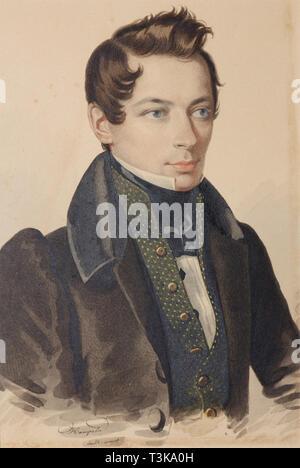 Portrait von Sergej Fyodorovich Plautin (1798-1881), 1830. In der Sammlung der Staatlichen Russischen Museum, St. Petersburg gefunden. Stockbild
