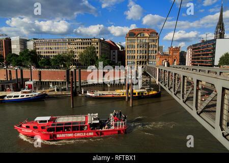 Fubganger Brücke, HafenCity, Hamburg, Deutschland, Europa Stockbild