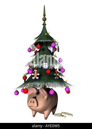 Weihnachtsbaum mit Sparschwein Stockbild