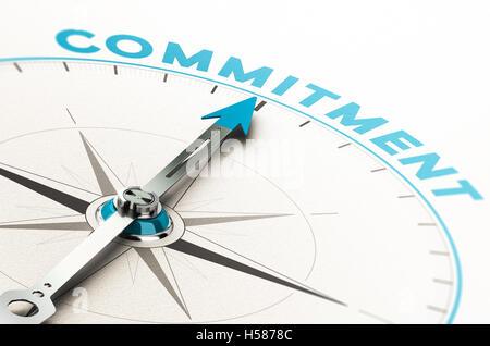 Konzeptionelle Kompass mit Nadel zeigt das Wort Engagement. 3D Illustration mit Cian und Beige Tönen. Stockbild
