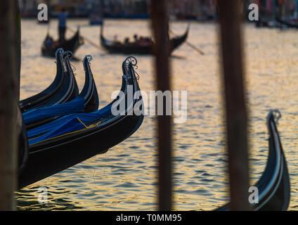 Gondeln auf dem Canal Grande geparkt, Region Veneto, Venedig, Italien Stockbild