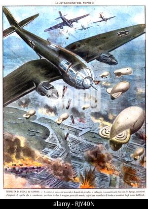 BOMING LONDON italienische Zeitschrift Abdeckung mit Luftwaffe Bomber Angreifen der Londoner Docks im Jahre 1940. Mit freundlicher Genehmigung Archivio Florio Stockbild