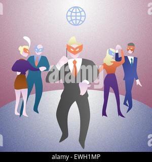 Geschäftsleute in Maskerade Maske auf party Stockbild